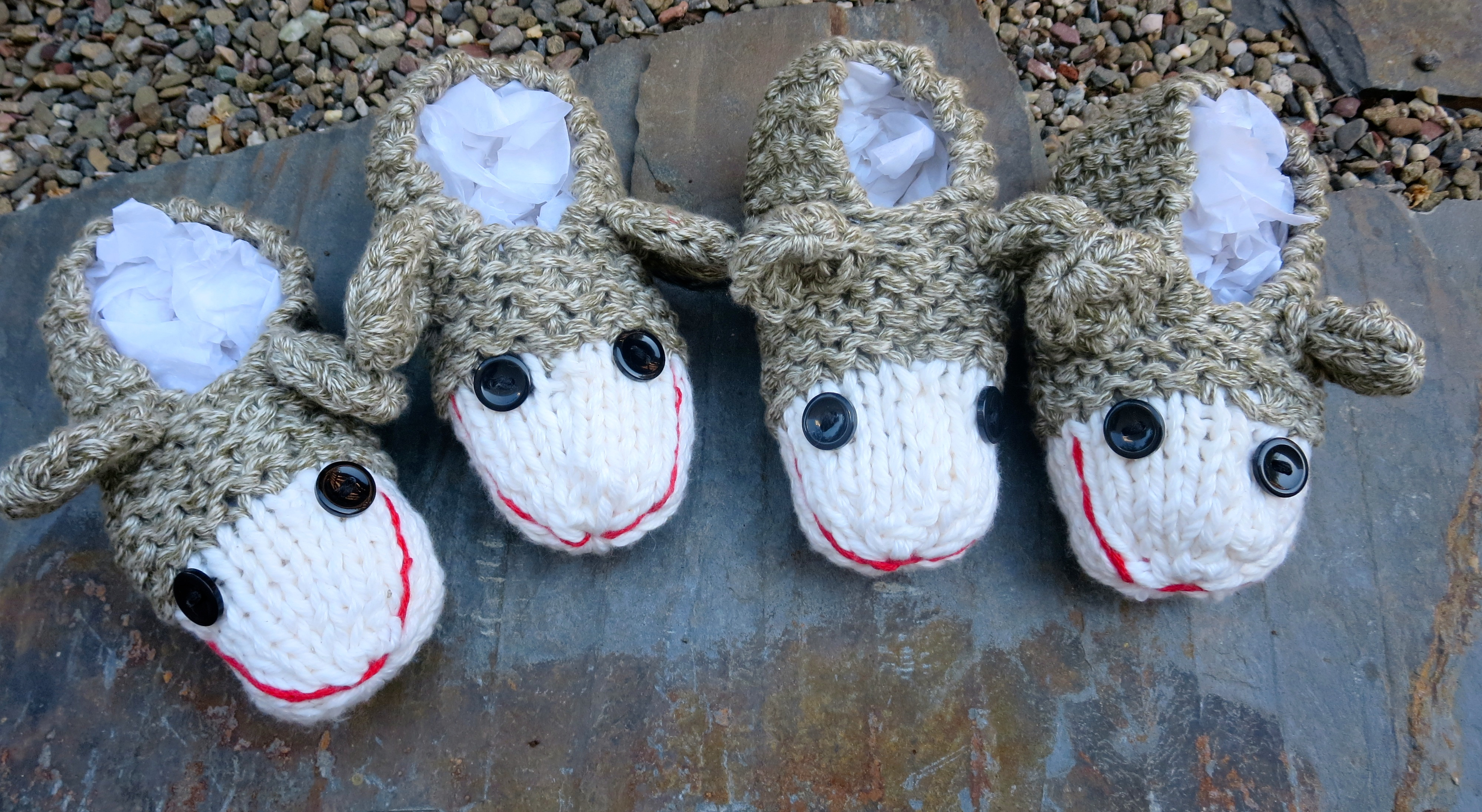 Four Little Sock Monkey Slippers sitting on a Ledge - Wool Free and ...